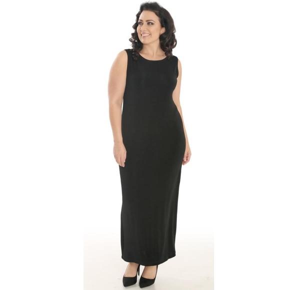 Vikki Vi Dresses | Plus Size Maxi Black Column Dress 3x | Poshmark